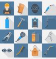 welding icon flat style set vector image