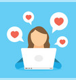 woman chatting in social network by laptop and vector image vector image