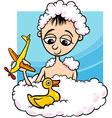 cute little boy in bath cartoon vector image