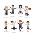 happy business people jumping team workgroup of vector image