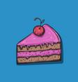 cute cartoon cake slice vector image