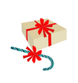 A Candy Cane with Red Bow and Gift Box vector image vector image