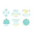 ayurvedic medicine studio labels set meditation vector image vector image