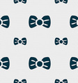 Bow tie icon sign Seamless pattern with geometric vector image vector image
