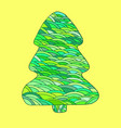 bright cartoon christmas tree isolated on yellow vector image vector image
