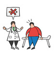 cartoon doctor man with his patient and saying no vector image