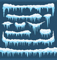 cartoon snow icicles icicle ice with snowcap on vector image vector image