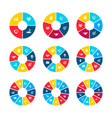 circle infographics with 4 5 6 7 8 9 10 11 vector image