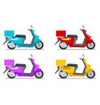color scooters set motorbike delivery vehicles vector image vector image