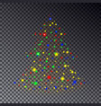 colorful christmas tree made of sparkle isolated o vector image vector image
