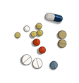 Colorful pill and tabs on white background vector image