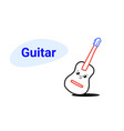 cute classic wooden guitar cartoon comic character vector image