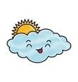 cute cloud with sun kawaii character vector image vector image