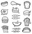 Doodle of food and fruit object vector image vector image