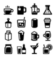 Drinks Icons Set on White Background vector image vector image