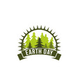 earth day trees and sun ecology nature icon vector image vector image