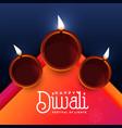 elegant diwali festival diya greeting design vector image vector image