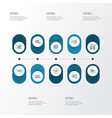 engine icons line style set with marketing vector image vector image
