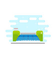 flat hydroelectric power station water dam vector image vector image