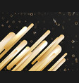 flying gold shapes move up on black background vector image