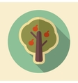 Fruit tree retro flat icon with long shadow vector image vector image