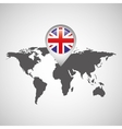 great britain flag pin map design icon vector image vector image