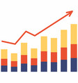 growth diagram with red arrow going up vector image vector image