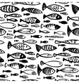 Hand drawn seamless pattern with doodle fish vector image vector image
