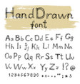 handwriten gel pen doodle font for your design vector image