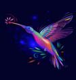 hummingbird with flower on dark background vector image