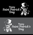 leprechaun engraved logo or label for saint vector image vector image