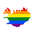 lgbt flag map of iceland rainbow map of iceland vector image