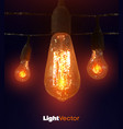 line art with low poly lamps on dark background vector image
