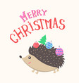 merry christmas hedgehog with new year balls tree vector image
