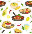 mexican traditional food seamless pattern vector image vector image
