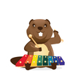 Musical animals Beaver vector image vector image