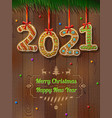 new year 2021 in shape gingerbread against vector image vector image