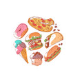 prepared street food banner with fast food vector image