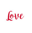 red glitter love calligraphy vector image vector image