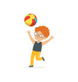 red-haired little kid playing with colorful rubber vector image vector image