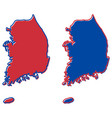 republic south korea rok simplified map vector image