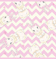 seamless pattern with cute cartoon bunny baby vector image vector image