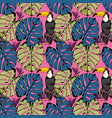 seamless pattern with tropical branches leaves vector image vector image