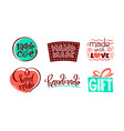 set icons with handmade lettering made vector image