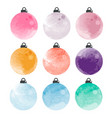set of decorative watercolor christmas balls vector image