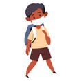 small kid wearing medical mask going to school vector image vector image
