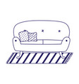 sofa with cushions and carpet isolated icon on vector image