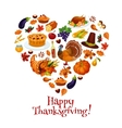 Thanksgiving heart shape emblem with icons vector image