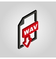 The WAV icon3D isometric file audio format symbol vector image
