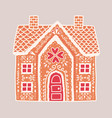 traditional gingerbread house isolated on light vector image vector image